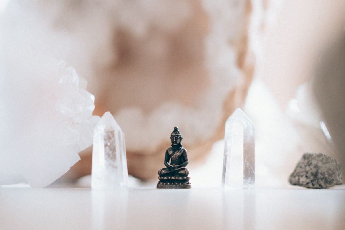 buddha statue and crystals